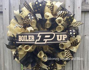 Purdue Boilermakers Wreath, Purdue Deco Mesh Wreath, Purdue Decor