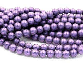 Czech Glass 8mm Round Metallic Suede Purple Druk Beads -25 Czech Beads