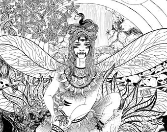IxChel the Mayan Rainbow Goddess, Black & White Fine Art Print Illustration Coloring Page - Free Shipping