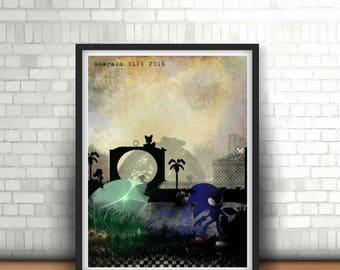Green Hill Zone Sonic The Hedgehog 2016 Dark Gamer Print Framed