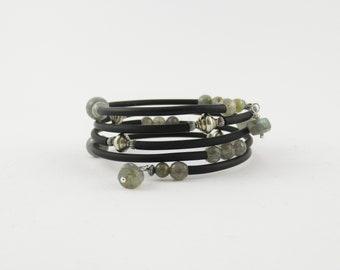 Labradorite bracelet, faceted labradorite, memory wire, wrap around bracelet, gemstone bracelet, black rubber tubing, silver jewellery, gift