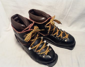 Vintage 1970's Black Leather Ski Boots