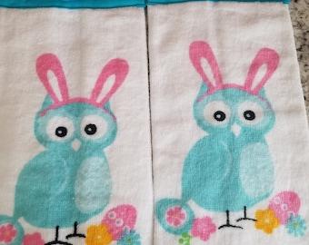 Easter towel set/Eater bunny/Hanging kitchen towel set