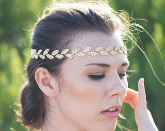 Wedding Halo,Gold Leaf Halo,Gold Wedding Headpice,Gold Leave Headpiece,Gold Leave Tiara,Woodland Boho Wedding Headpiece,Grecian Headband
