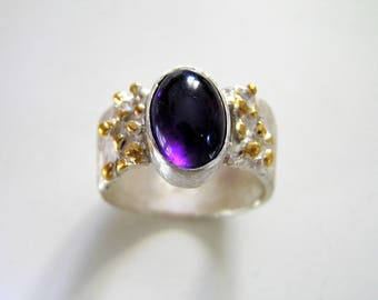 Amethyst oval cabochon with gold plated dot accents in large sterling silver band ring. Engagement ring. Unique gift ring.
