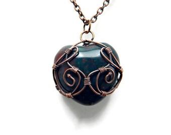 Heart Shaped Pendant / Heart Shaped Necklace / Bloodstone Heart Pendant / Gemstone Heart Necklace / Heart of Stone / Heart Pendant Necklace