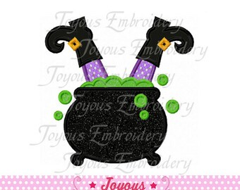Instant Download Halloween Witch In Cauldron Applique Machine Embroidery Design NO:1385