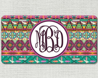 Personalized Monogrammed License Plate Car Tag, Monogram License Plate, Personalized License Plate, Monogram Car Tag - Hipster Aztec 9007