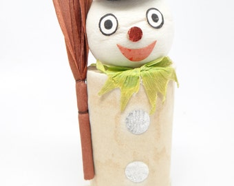 1940's Snowman Candy Container, Spun Cotton Head, Black Top Hat and Broom
