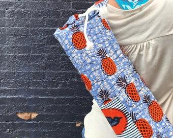 Pineapple African WAX Print Yoga Bags