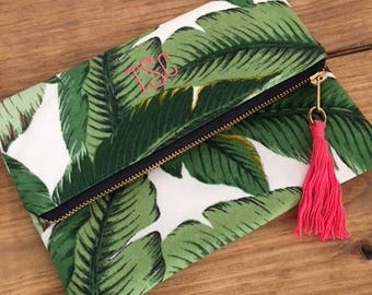 Banana Palm Leaf Clutch - Custom Palm Leaf Clutch  - Personalized Gift - Bridesmaid Gift - Greenery Clutch - Gift for her - Gift under 30