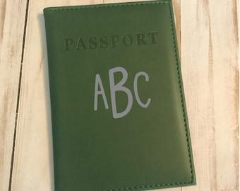 Monogrammed Dark Green Passport Holder, Dark Green Passport cover