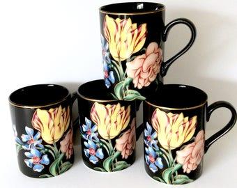 4 Black Mugs by Fitz and Floyd Bariolage des Fleurs Black Background Vintage Coffee Mugs
