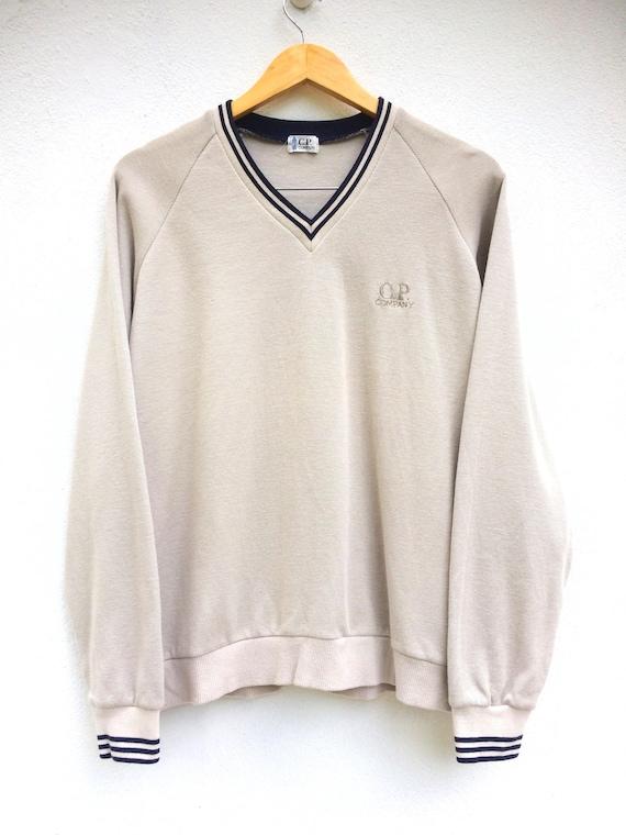 Vintage C.P. COMPANY V Neck Spellout Logo Sweatshirt Pullover Jumper Size 170 Sportwear QWwKYz