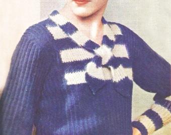 Pdf Knitting Pattern Lady's jumper / little striped yoke and tie collar  / BLUE AND GREY/1 size/ Knitting Pattern - 359