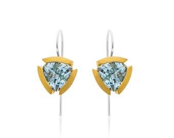 Blue Topaz & 14k Gold Plated Sterling Silver Earrings