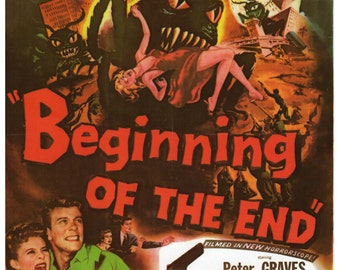 "Vintage Horror Science Fiction Movie Poster Print, 1957, beginning of the end, PMSF 8"" x 10"""