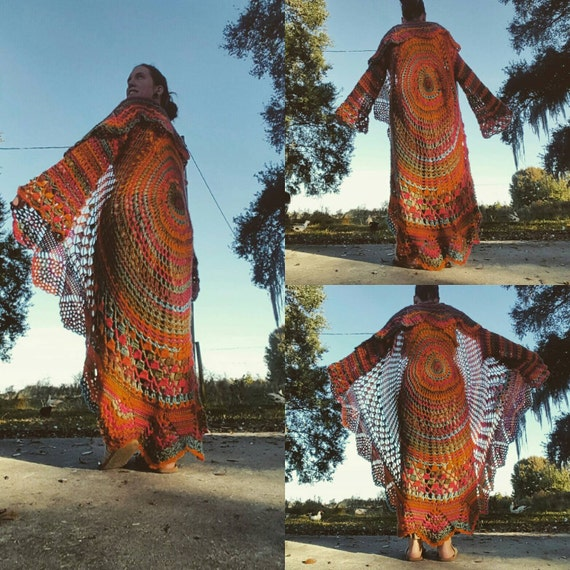 Sunrise Hand Crocheted Bohemian Long Sweater