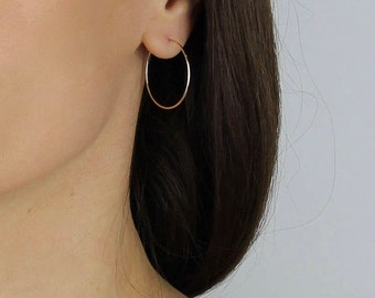 Minimal Hoop Earrings - 14k Rose Gold Silver Classic Hoop Earrings - Modern 14k Rose Gold Silver Hoop Earrings - Simple Classic Hoops