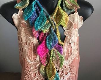Crocheted leaf scarf