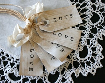 Love Gift Tags // Cottage Style Gift Tags // Set of 5 Gift Tags //  Whitewashed Love tags