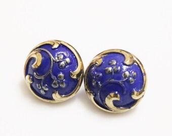 Blue Czech Glass Earrings, Blue Earring Studs, Gifts Under 20, Gift Ideas For Her, Unique Flower Earrings