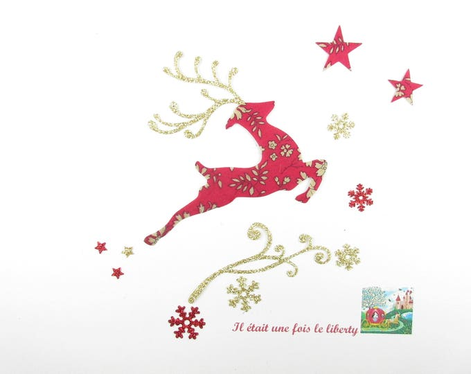 Applied fusing reindeer Christmas liberty Capel red flex gold applied fusible Christmas liberty pattern patch iron on patches