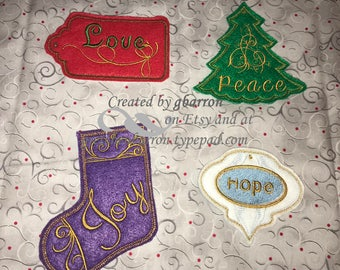 Christmas Stocking Tags -- Personalized, Embroidered, Choice of colors and styles!