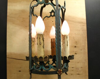 1148 Painted Metal 1920's Lantern Form Ceiling Light Tudor Style Rewired Restored