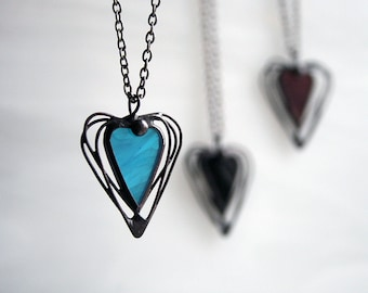 Valentines Gift, Blue Heart necklace, Gift Ideas For Her, Goth Black Heart, Stained Glass Heart, Love Jewellery