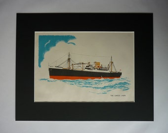 1940s Antique Nautical Print of a Cargo Ship, Maritime Decor, Available Framed, Steamship Art, Old Ocean Liner Gift, Boys Bedroom Wall Art