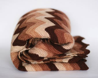 vintage  crocheted chevron afghan brown tones
