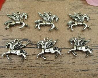 20 breloques Pegasus, Antique ton argent, Double face-RS261