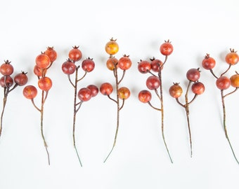 7 OVERSIZED Vintage Inspired Berry Stems in Roasted Red - Floral Crown Supplies - Artificial Berries - ITEM 0849