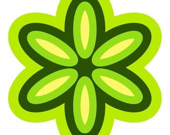 Mod Flower 70s Style Cutout Wall Decal Green #47817