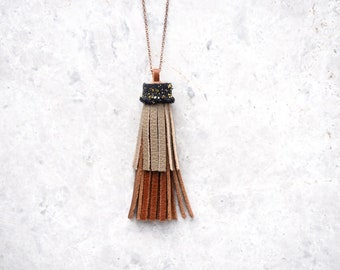 Layered Tassel Necklace, Long Tassel Necklace, Brown Upcycled Leather, Copper Chain, Gold Glitter Sustainable Jewelry, Boho Gift for Sister