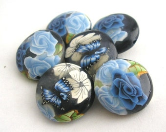 Navy Blue Rose Beads, Polymer Clay Beads, Lentil Beads, Winterflower 6 Pieces