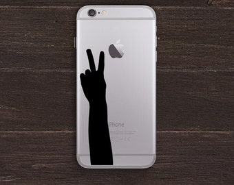 Peace, Victory Hand Silhouette Vinyl iPhone Decal BAS-0249