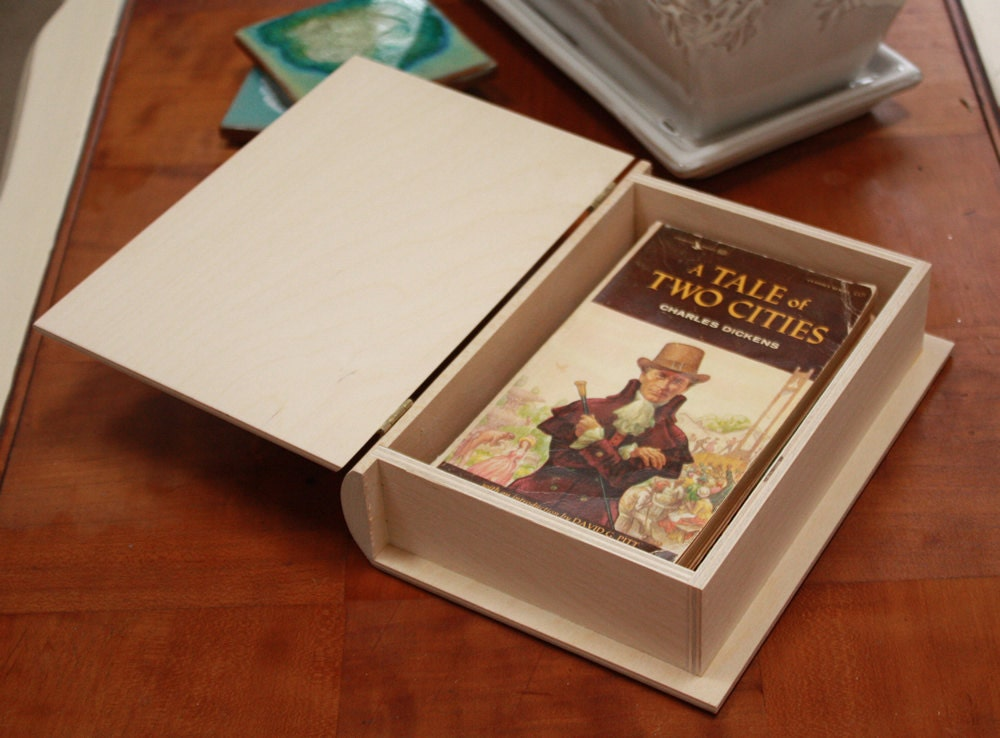 Diy Wooden Book Cover ~ Small wooden book boxchildren s boxgift