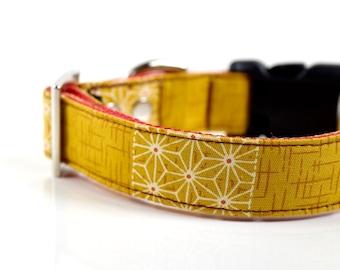 Patchwork Kimono Hemp Leaves Dog Collar - Mustard