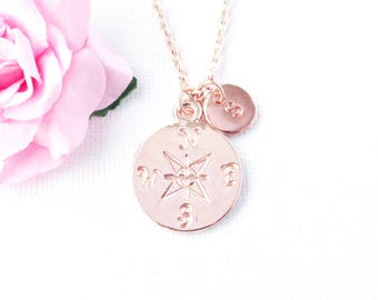 Rose Gold Compass, Compass Necklace Personalized, Compass Initial Necklace,bon voyage gift, compass necklace, christmas gift