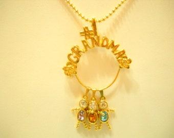 Vintage #1 Grandma Pendant Necklace (6655) Amethyst, Citrine & Blue Topaz