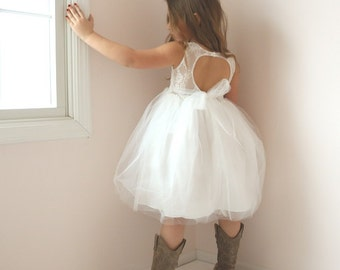 Girls White Dress with Sleeves