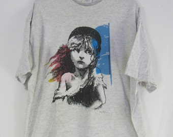 Vintage 90s Les Misérables T shirt size XL Gray Musical Show