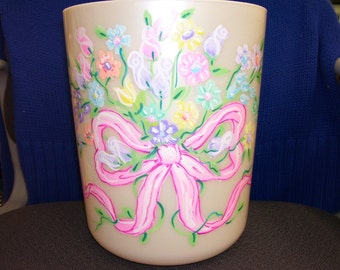 Wastebasket -  Ribbon and Flowers - Handpainted and Personalized