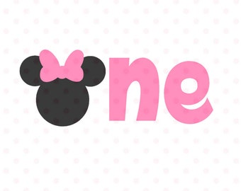 Minnie Mouse First Birthday SVG, Minnie Mouse Head Vector, Minnie Mouse Cut File, Minnie Mouse for Silhouette and  Cricut