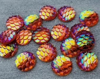 ab melon orange 10mm mermaid fish scales 10pc resin cabochons