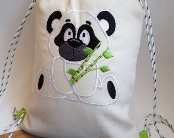 Backpack style tote bag for kindergarten - toy bag - my little panda