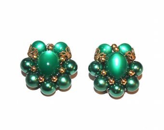 Green Moonglow Cluster Earrings ~ Vintage Oval Lucite & Faux Pearl Bead Clip Ons