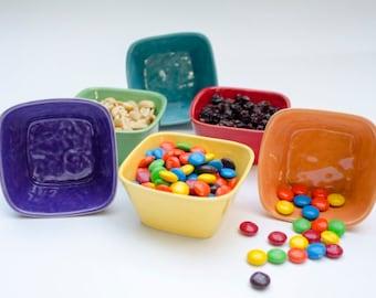 Colorful Ceramic Tiny Square Bowls, prep bowl, nut bowl, candy bowl, red, orange, purple, green, blue, yellow, whte